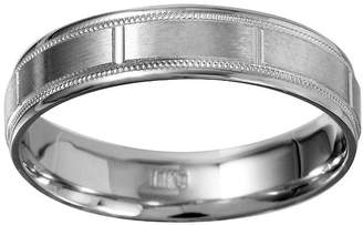 MODERN BRIDE Mens 5mm 10K White Gold Milgrain Wedding Band
