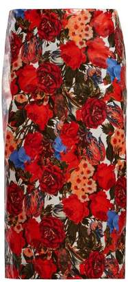 Marni Floral Print Waxed Poplin Pencil Skirt - Womens - Red Multi