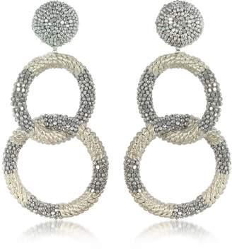 Oscar de la Renta Silver 2 Hoop Earrings