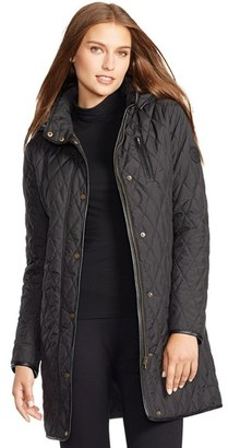 Women's Lauren Ralph Lauren Faux Leather Trim Quilted Coat $230 thestylecure.com