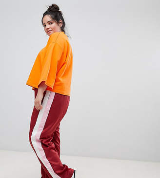 Asos Straight Leg Track Pants with Side Stripes and Ring Pulls