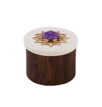 Mela Artisans Noor Ring Box in Marble & Medium Polish
