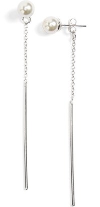 Women's Sole Society Pearly Bead & Bar Front/back Earrings $32.95 thestylecure.com