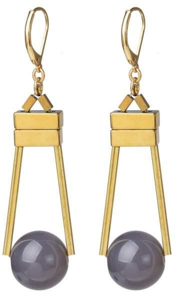 Styleserver DE David Aubrey - Ohrringe mit Vergoldeten Barren und Grauer Achat Kugel