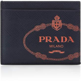 a45e3766b55 Prada Logo-Printed Textured-Leather Card Case