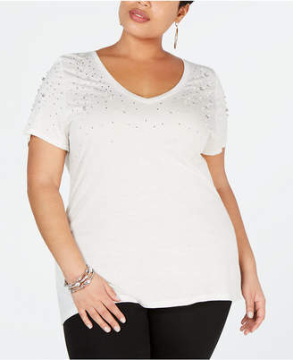 INC International Concepts I.n.c. Plus Size Embellished V-Neck Tee
