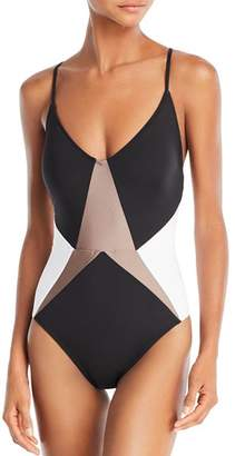 13025d8bdd9 Kenneth Cole Across the Atlantic Color Block One Piece Swimsuit