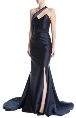 Rubin Singer Paneled One-Shoulder Side-Slit Silk-Wool Gown w/ Satin Insets