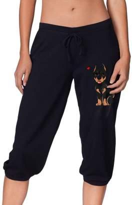 Cloud Up Doberman Print Pants For Women Tank Top With Capri Jogger Sweatpants