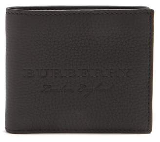 Burberry Embossed Leather Bi Fold Wallet - Mens - Black