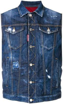 DSQUARED2 distressed sleeveless denim jacket