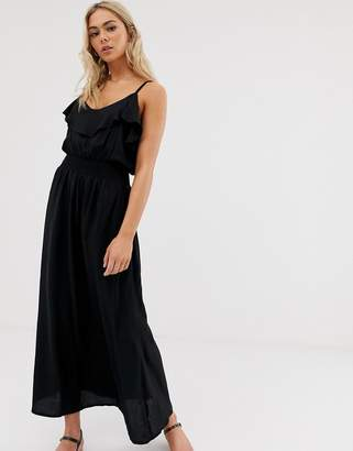 Pimkie maxi dress with frill in black