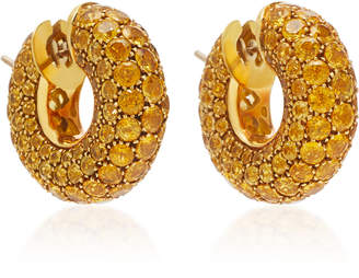 Gioia 18K Gold and Yellow Sapphire Hoop Earrings