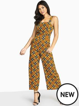 Girls On Film Check Printed Jumpsuit With Wide Straps - Mustard