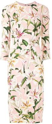 Dolce & Gabbana lily-print fitted dress