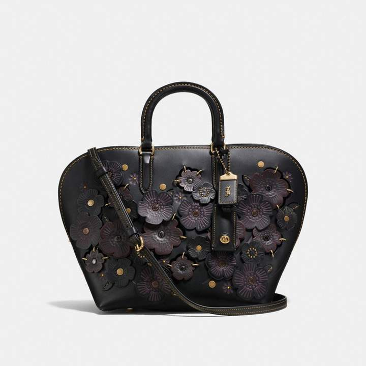 Coach Dakotah Satchel With Linked Tea Rose - BLACK/OLD BRASS - STYLE
