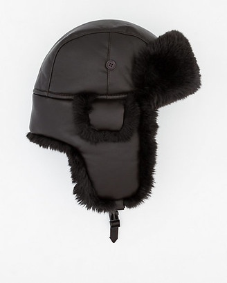 8d5c71e3d8305 Le Château Leather-Like Trapper Hat with Faux Fur Trim