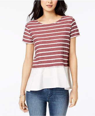 Maison Jules Striped Layered-Look Top, Created for Macy's