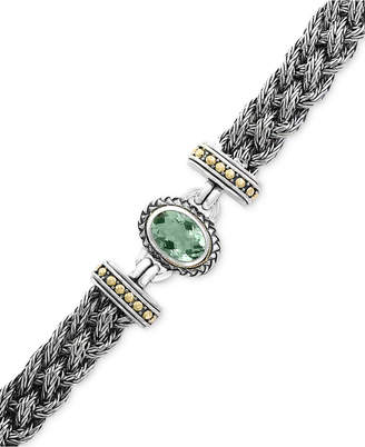 Effy Prasiolite Two-Tone Woven Bracelet (5-3/8 ct. t.w.) in Sterling Silver and 18k Gold