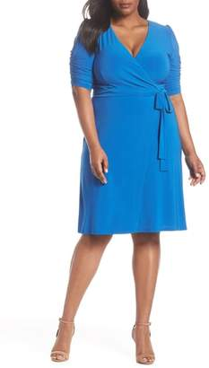 Eliza J Ruched Sleeve Faux Wrap Dress