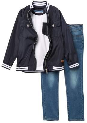 7 For All Mankind Stripe Trim Jacket, Tee, & Jeans Set (Toddler Boys)