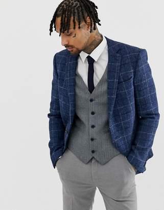 Asos DESIGN Slim Suit Jacket in 100% Wool Harris Tweed In Blue Check