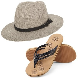 AERUSI Coral Jones Women's Floppy Straw Hat and Foam Flip Flop Sandals Set US Women's Shoe Sizes 7-10