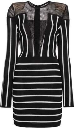Balmain Striped mini dress with mesh detail