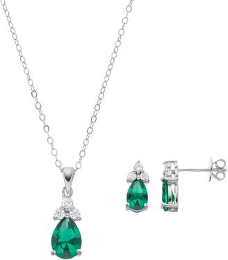 aeb803dda Sterling Silver Simulated Emerald & Cubic Zirconia Teardrop Pendant & Earring  Set