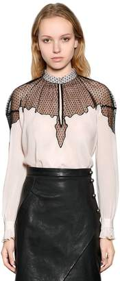 Just Cavalli Viscose Crepe Shirt With Sheer Panel