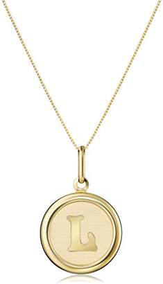 """14k Yellow Initial """"T"""" Pendant Necklace"""