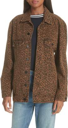 Alexander Wang Daze Leopard Print Denim Jacket