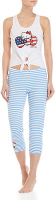 Hello Kitty Two-Piece Knotted Tank & Striped Pants PJ Set