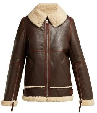 Acne Studios Aviator Shearling Jacket - Womens - Dark Brown