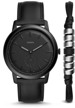 Fossil The Minimalist Two-Hand Sub-Second Black Leather Watch And Bracelet Box Set