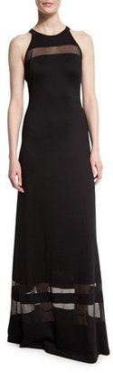 St. John Collection Shine Milano Knit Gown w/ Sheer Stripes, Caviar $1,695 thestylecure.com