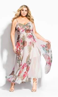 City Chic Citychic Paradise Palm Maxi Dress - ivory