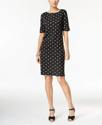 Karen Scott Cotton Dot-Print Dress