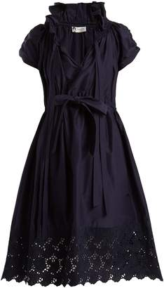 Lanvin Ruched cotton and silk-blend dress