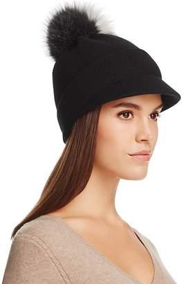 Inverni Visor Cap with Two-Tone Fox Fur Pom-Pom
