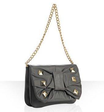 Felix Rey grey leather 'Jean' studded bow convertible bag