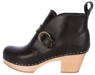 Swedish Hasbeens Leather Round-Toe Clog Booties