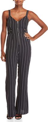 Dance & Marvel Striped Zip Front Jumpsuit