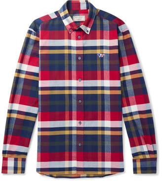 MAISON KITSUNÉ Button-Down Collar Tartan Cotton-Flannel Shirt