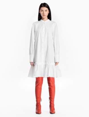 Calvin Klein poplin cotton band collar peplum dress