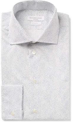 Richard James White Slim-Fit Cutaway-Collar Printed Cotton-Poplin Shirt