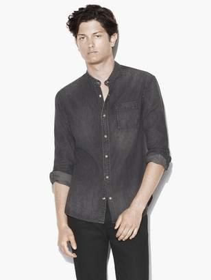 John Varvatos Band Collar Denim Shirt