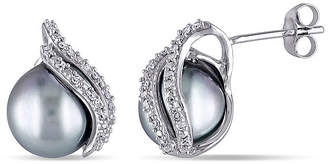 FINE JEWELRY 1/6 CT. T.W. Diamond and Genuine Platinum Tahitian Pearl Earrings