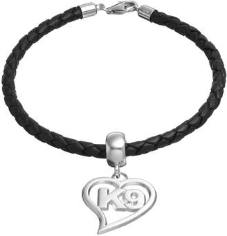 "Insignia Collection Sterling Silver & Leather ""K9"" Heart Charm Bracelet"