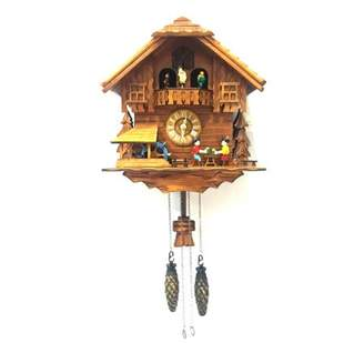 ALEKO Handcrafted Wooden Cuckoo Wall Clock Home Art with Chirping Bird and Dancing Townsfolk 12 x 11 x 6.5 Inches - Brown